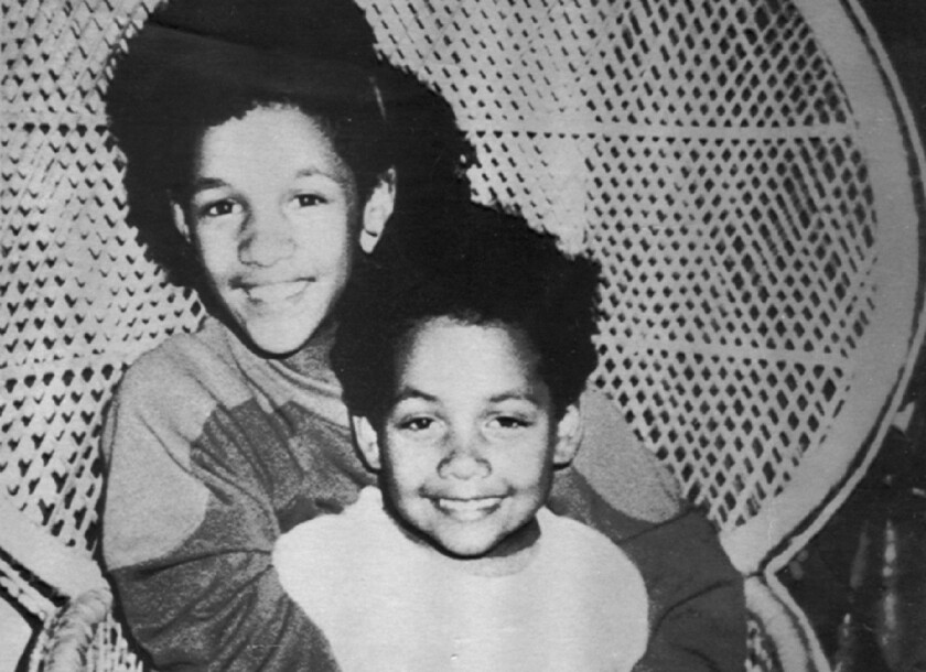 Miguel Antero, 6, is shown in 1986 with his sister Enid, 11. Miguel was found slain near his Agoura Hills home that year. Prosecutors on Thursday charged Kenneth Rasmuson with killing him.