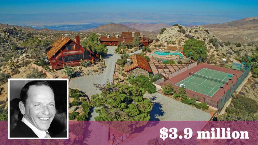 El refugio en el desierto que fue construido para el legendario Frank Sinatra está en venta, con sus parcelas lindantes, por $3.9 millones (Sean Garrison | Inset: Getty Images).