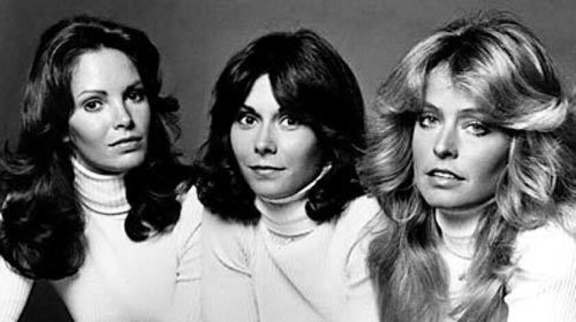 """As Jill Munroe in """"Charlie's Angel's,"""" with Jaclyn Smith, left, and Kate Jackson, Farrah Fawcett became a household name. She quit the show after one season, claiming that producers weren't letting her grow as an actress."""