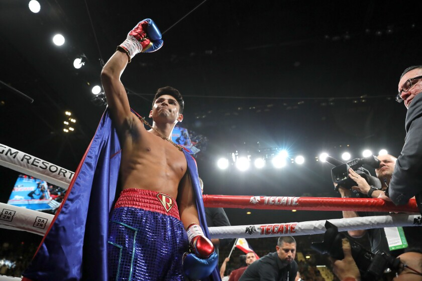 Ryan Garcia makes his ring entrance for a lightweight fight against Romero Duno on Nov. 2 at MGM Grand Garden Arena.