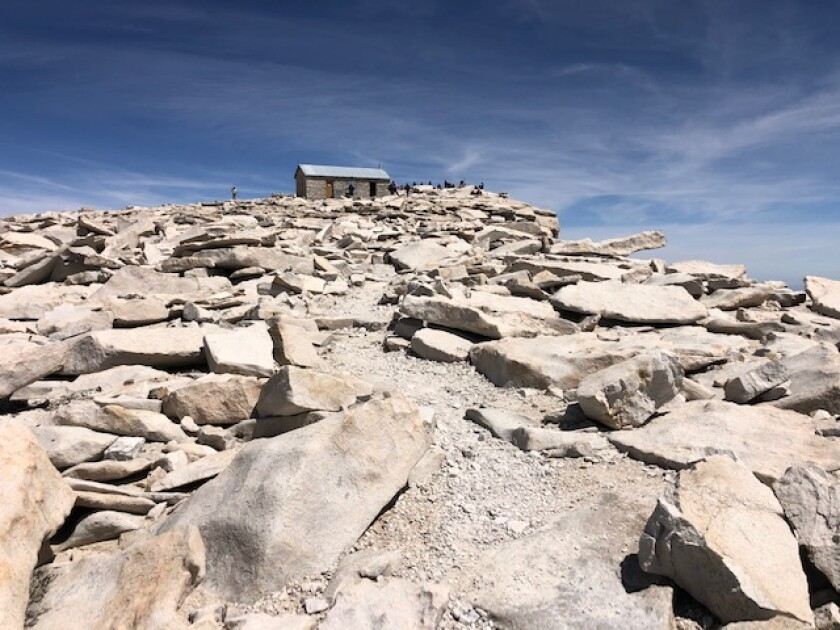The stone building atop Mt. Whitney, the 14,505-foot peak above Lone Pine, Calif., is on many hikers' bucket lists.