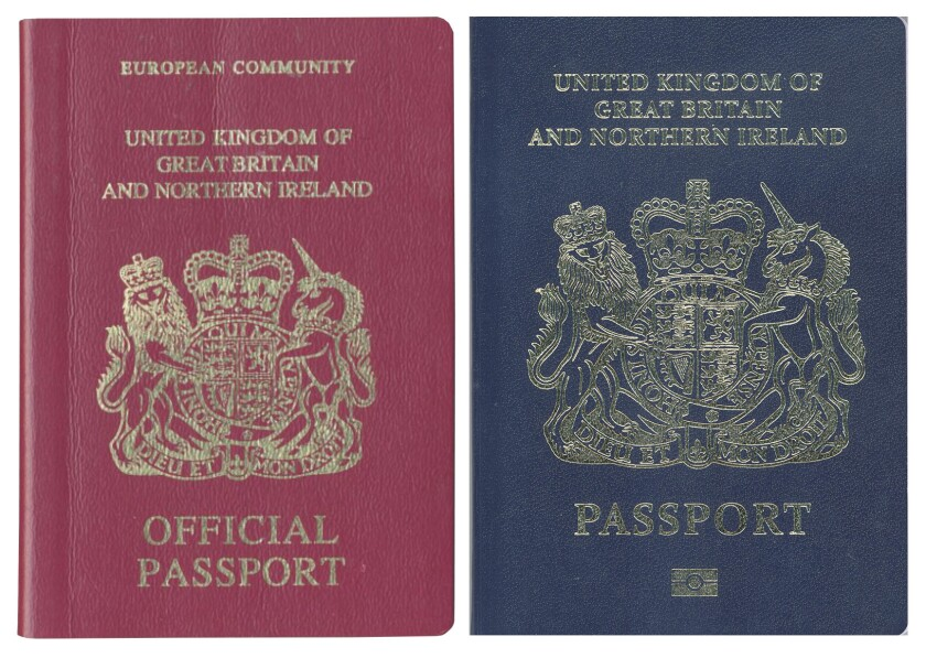 The current British passport, left, is scheduled to be replaced by a new one in 2019.