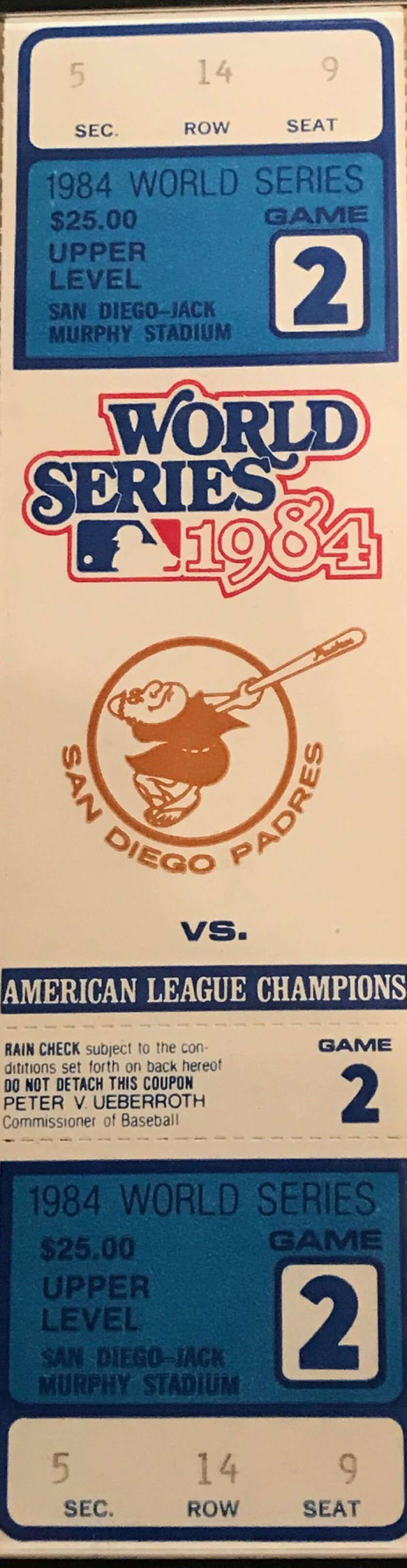 An unused ticket from Game 2 of the 1984 World Series. The Padres defeated the Detroit Tigers 5-3 at San Diego Jack Murphy Stadium.