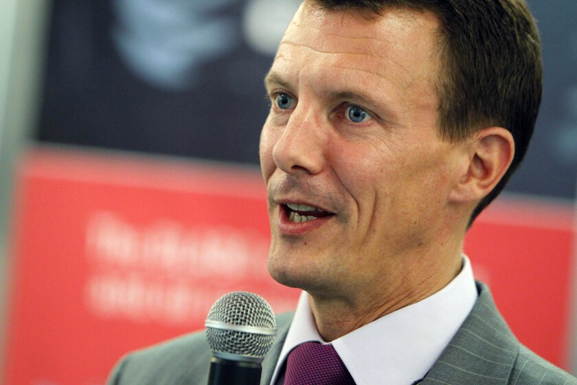 FILE - In this file photo dated Wednesday, Sept. 15, 2010, Prince Joachim of Denmark, in Rio de Janeiro, Brazil. According to a royal palace statement 51-year old Prince Joachim, the youngest son of Queen Margrethe of Denmark, has undergone emergency surgery after being admitted to hospital in Toulouse southern France Friday July 24, 2020, for a blood clot in his brain. (AP Photo/Felipe Dana, FILE)