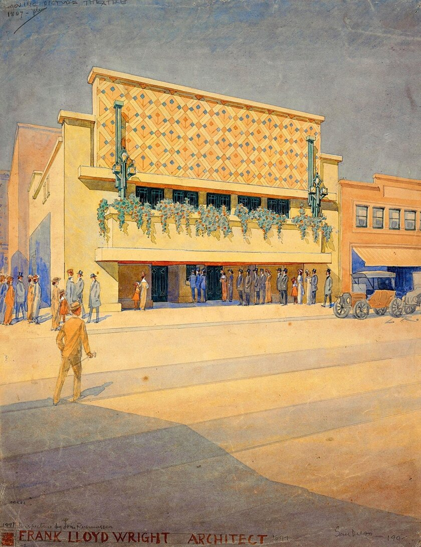 Frank Lloyd Wright designed Cinema for San Diego (circa 1905), but it was not built for various reasons.
