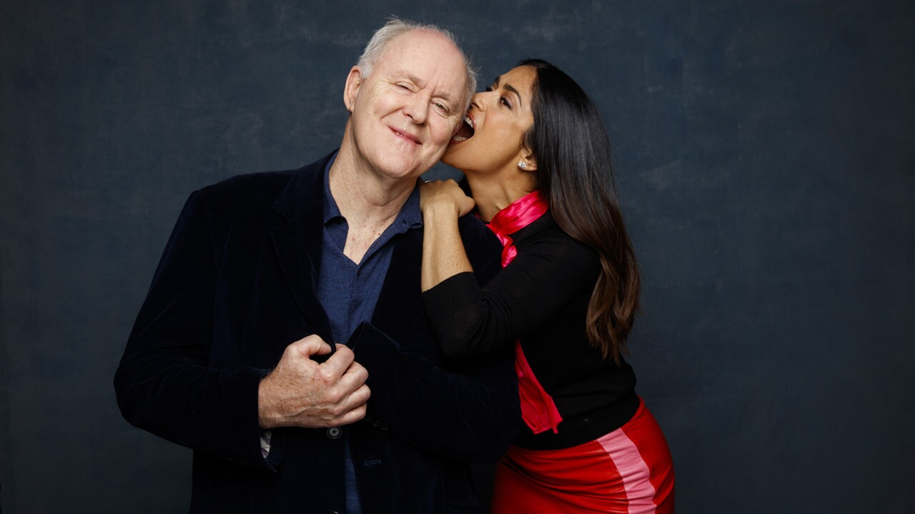 "John Lithgow and Salma Hayek from the film ""Beatriz at Dinner."""