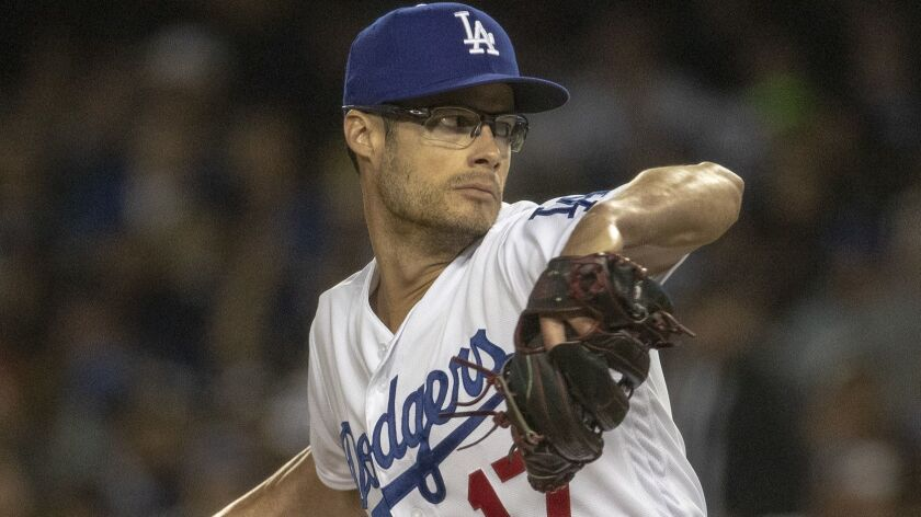 LOS ANGELES, CALIF. -- FRIDAY, MARCH 29, 2019: Joe Kelly winds up on the mound in relief during ga