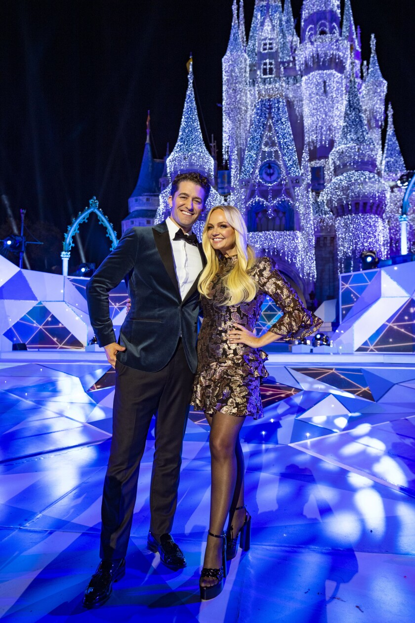 "Matthew Morrison and Emma Bunton in ""The Wonderful World of Disney: Magical Holiday Celebration"" on ABC."