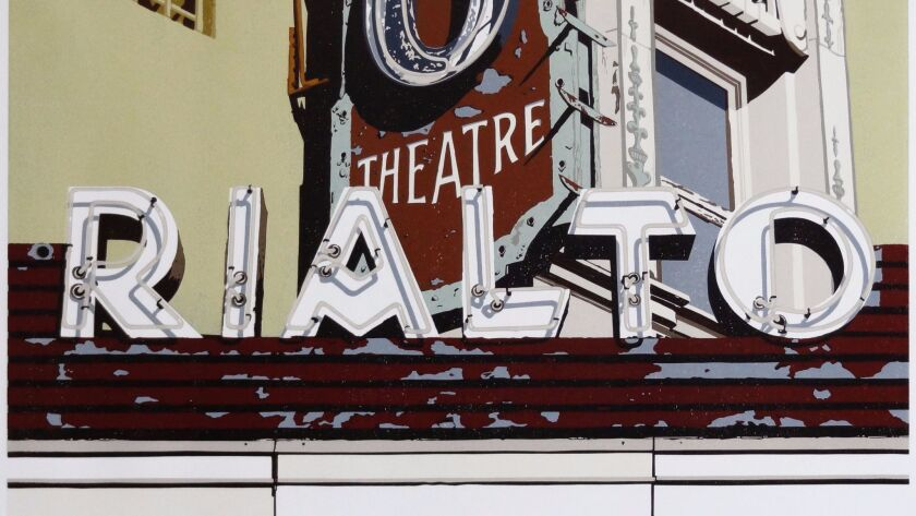 """Dave Lefner's """"The Rialto South Pasadena"""" (detail), 2012. Reduction linocut in 17 colors, 22 inches by 33 inches."""