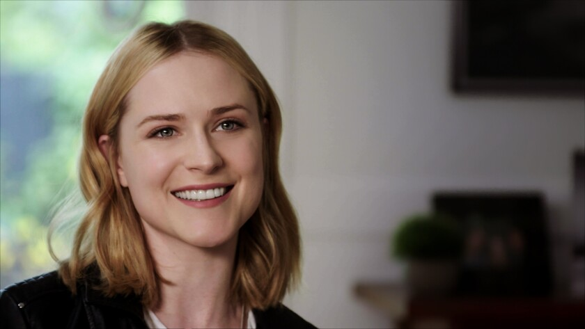 "Actress Evan Rachel Wood of ""Westworld"" sits for an interview in the documentary ""Showbiz Kids."""