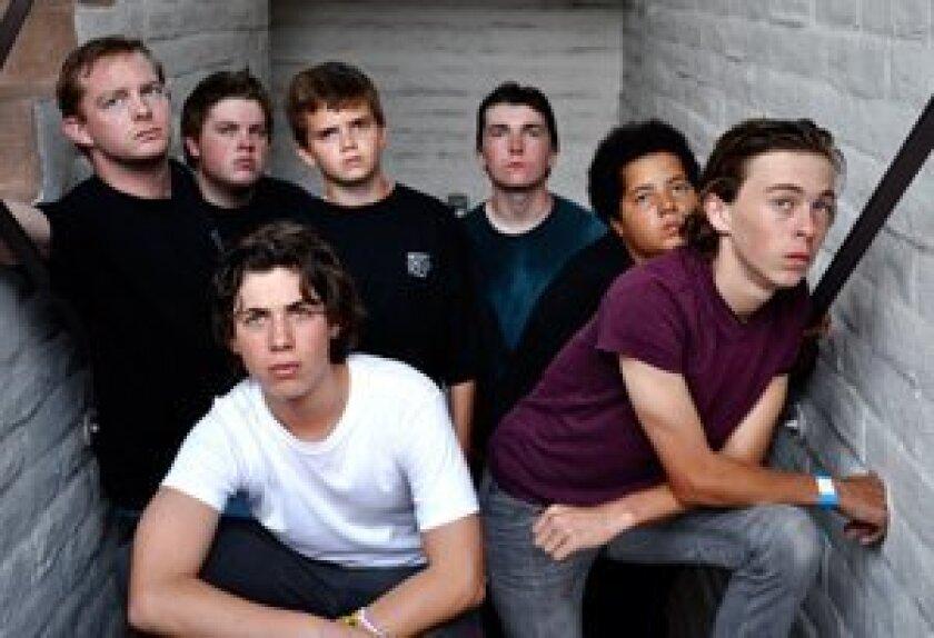 Front Row from left: Gabe Krut (Ponyboy) and Geoff Geissinger (Johnny). Back Row from left: Brian Mackey (Dallas), Noah Yatsko (Darry), Tanner Erdem (Jerry, Ponyboy understudy), Phillip Magin (Sodapop), and Creston Brown (Two-Bit)