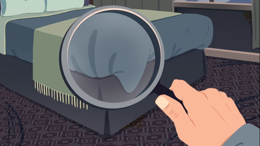 ONE TIME USE - ON THE SPOT illustration for November 25 column about hotel room inspectors and what