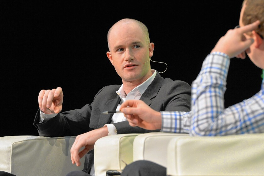 Coinbase Chief Executive Brian Armstrong is shown in 2014.