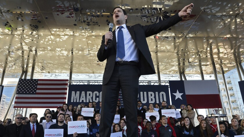 Marco Rubio holds a rally in Dallas