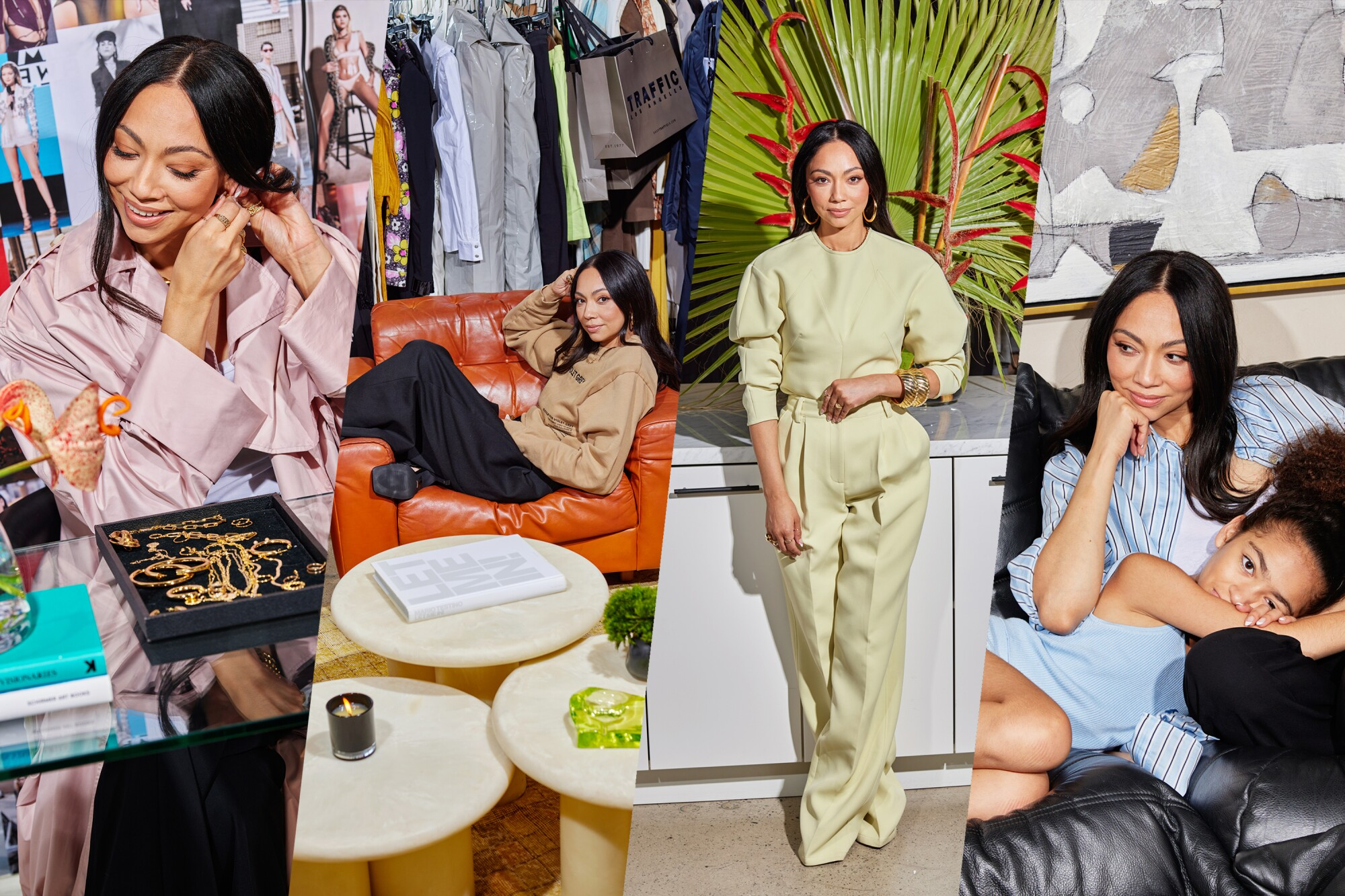 Collage of photos of stylist Monica Rose at her studio and at her home in Los Angeles.