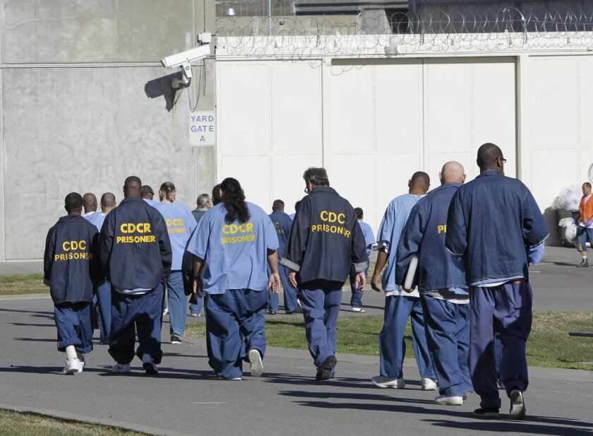 FILE -- In this photo Feb. 26, 2013 file photo, inmates walk through the exercise yard at California State Prison Sacramento, near Folsom, Calif.  California's recidivism rate dropped in the years before Gov. Jerry Brown's 2011 realignment law took effect, according to a report released by the Cali