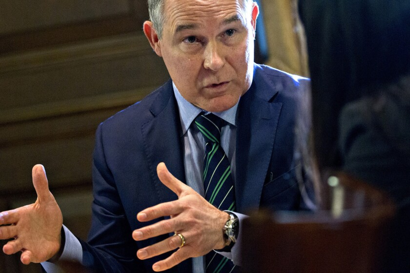 EPA Administrator Scott Pruitt during an interview in his office at the EPA headquarters in Washington on Oct. 25, 2017.