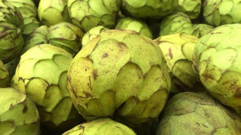 Cherimoya fruit from Rancho El Rincon at the Santa Monica farmers market.