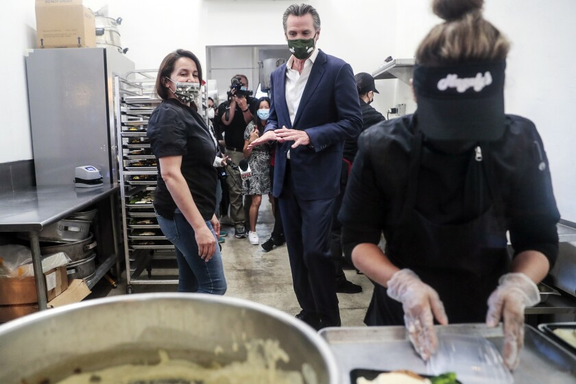 Gov. Gavin Newsom visits a San Fernando restaurant