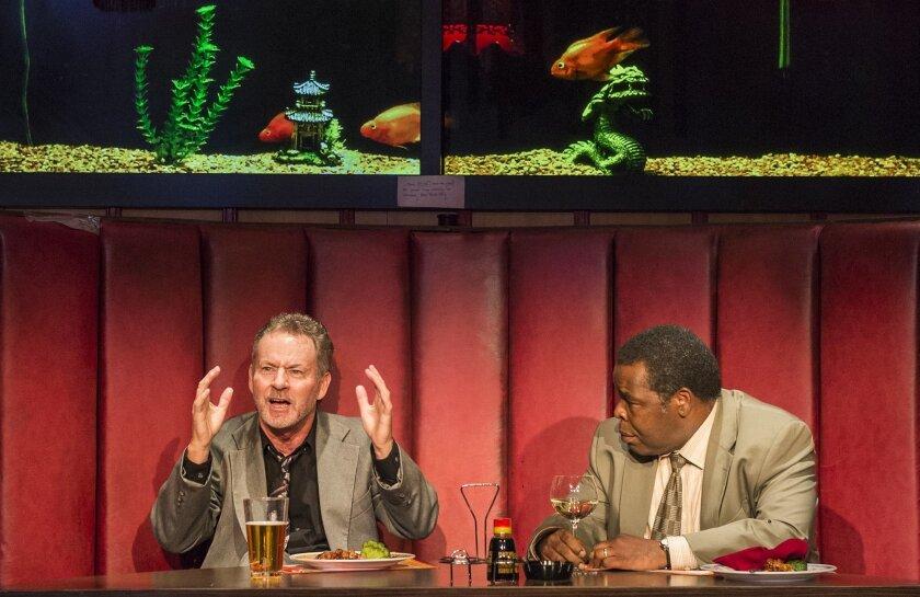 "James Sutorius (left) and Ray Anthony Thomas in La Jolla Playhouse's ""Glengarry Glen Ross."""