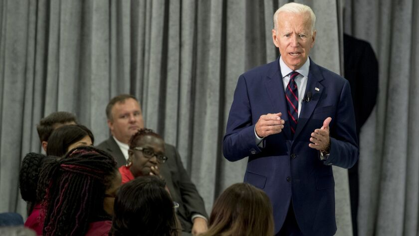 Former Vice President Joe Biden, a 2020 Democratic presidential hopeful, speaks during a town all me