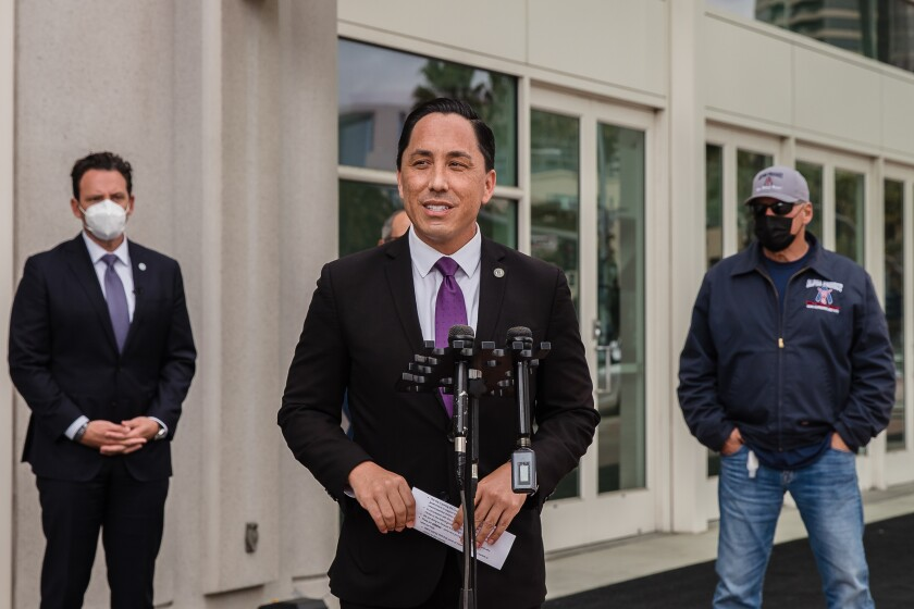 Mayor Todd Gloria, in front the San Diego Convention Center on Tuesday