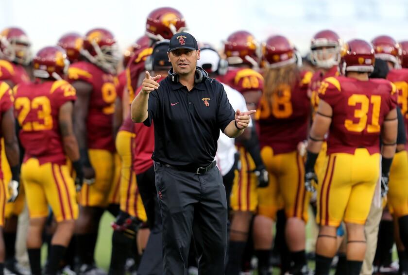 USC Coach Steve Sarkisian leads the Trojans against Idaho on Sept. 12.