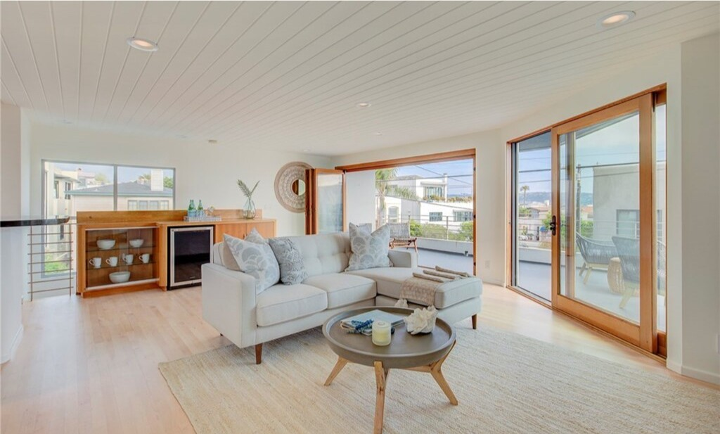 Recently remodeled, the two-bedroom home takes in ocean views from a second-story deck.