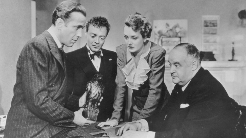 "Humphrey Bogart, Peter Lorre, Mary Astor, Sydney Greenstreet in ""The Maltese Falcon."""