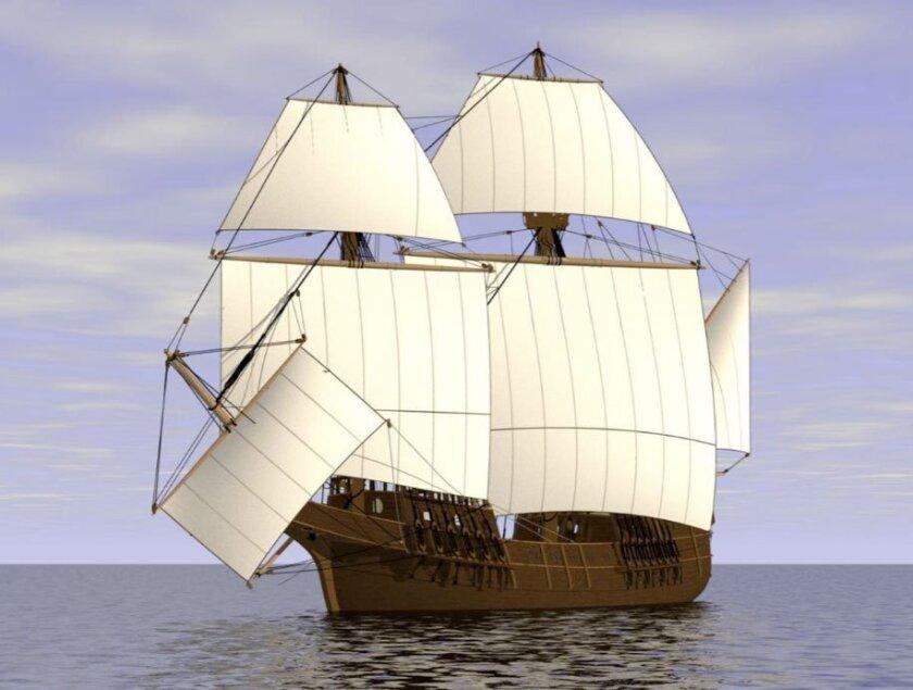 Rendering of the proposed replica of Cabrillo's galleon San Salvador.