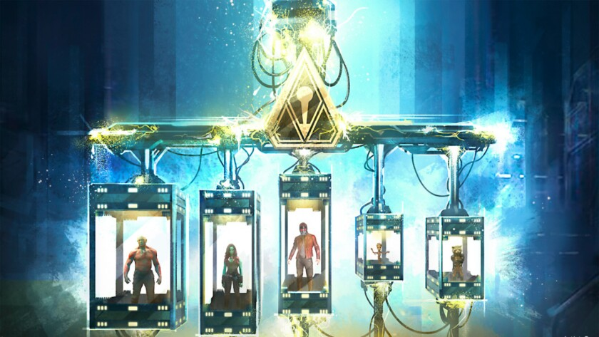 Concept art of the display cases used to hold the Guardians of the Galaxy in the Collector's museum.