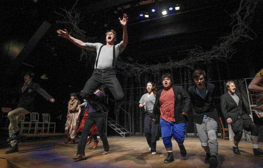 """Dave Thomas Brown (front) and the cast of """"Spring Awakening"""" rehearse a scene at Cygnet Theatre in Old Town."""