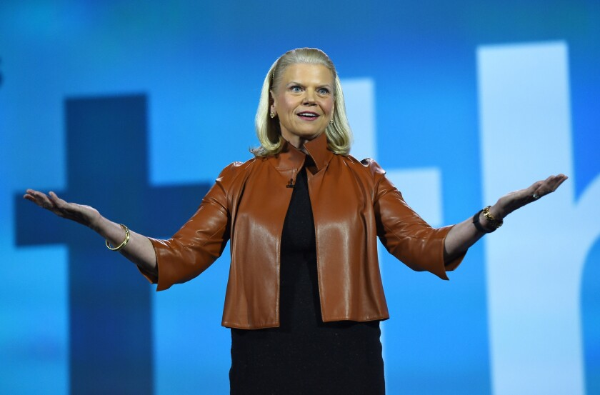 IBM Chairman and CEO Ginni Rometty delivering a keynote address at this year's Consumer Electronics Show in Las Vegas.