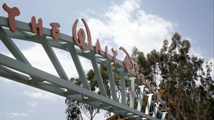 BURBANK CA: May 6, 2014 - The main gate of The Walt Disney Company's headquarters in Burbank. (Katie