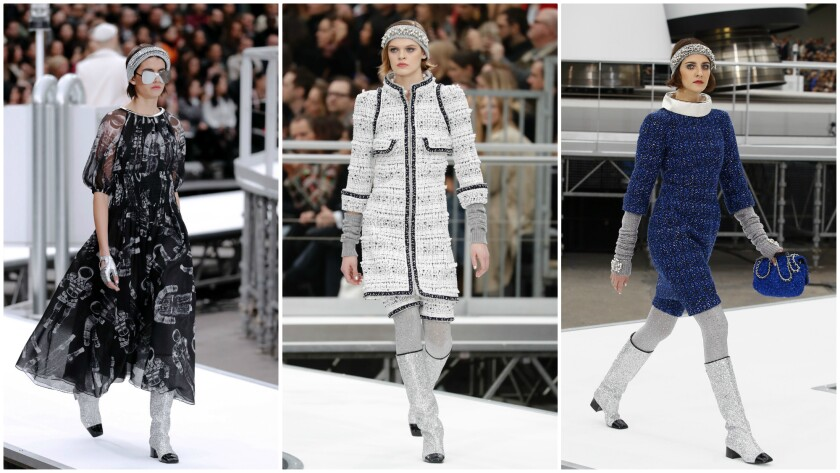Looks from Chanel's fall/winter 2017 runway collection, presented on March 7 during the final day of Paris Fashion Week.