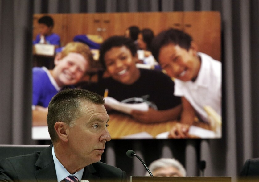 John Deasy, Superintentent of the Los Angeles Unified School District, at a school board meeting in August.