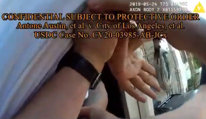 Clip from LAPD video of arrest