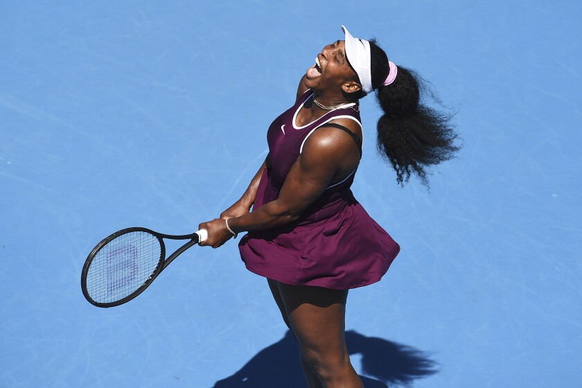 Serena Williams of the U.S. reacts after winning a point during her second round singles match against her compatriot Christina McHale at the ASB Classic tennis tournament in Auckland, New Zealand, Thursday, Jan 9, 2020. (Chris Symes/Photosport via AP)