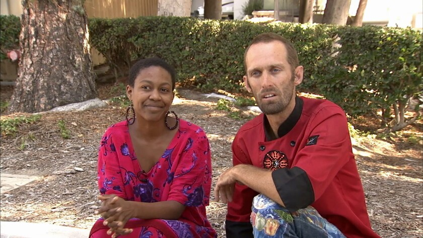 Actress Daniele Watts and Brian Lucas talk with KABC-TV in Los Angeles on Sept. 14. They've been charged with lewd conduct stemming from the Sept. 11 incident.