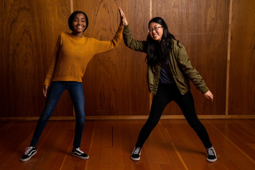 """""""Rosdely taught me a lot about how to be a better actor overall,"""" Jocelyn Shek, right, said of her castmate."""