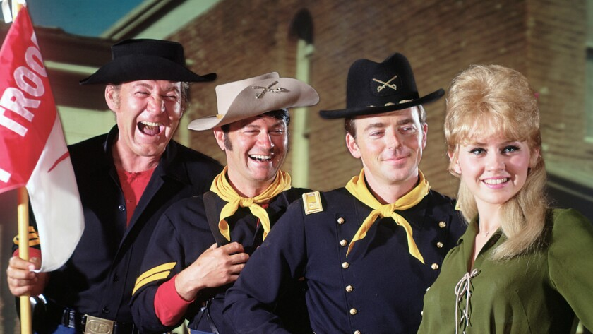 """Ken Berry, second from right, starred in """"F Troop"""" from 1965 to 1967, with Forrest Tucker, from left, Larry Storch and Melody Patterson."""