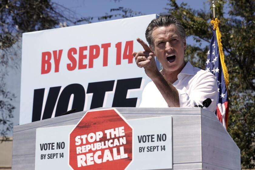 Gov. Gavin Newsom campaigns against the recall at Culver City High School on Saturday.
