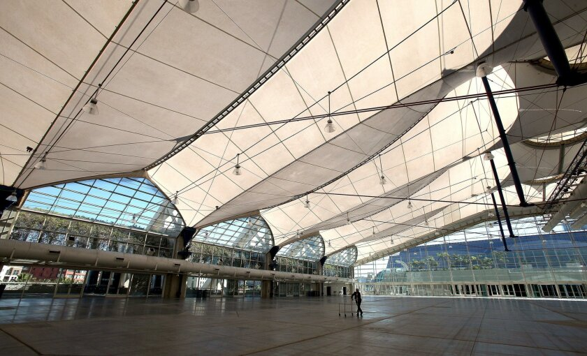 The convention center's aging rooftop sails pavilion is top on the list of repairs to be funded with a newly approved state loan.