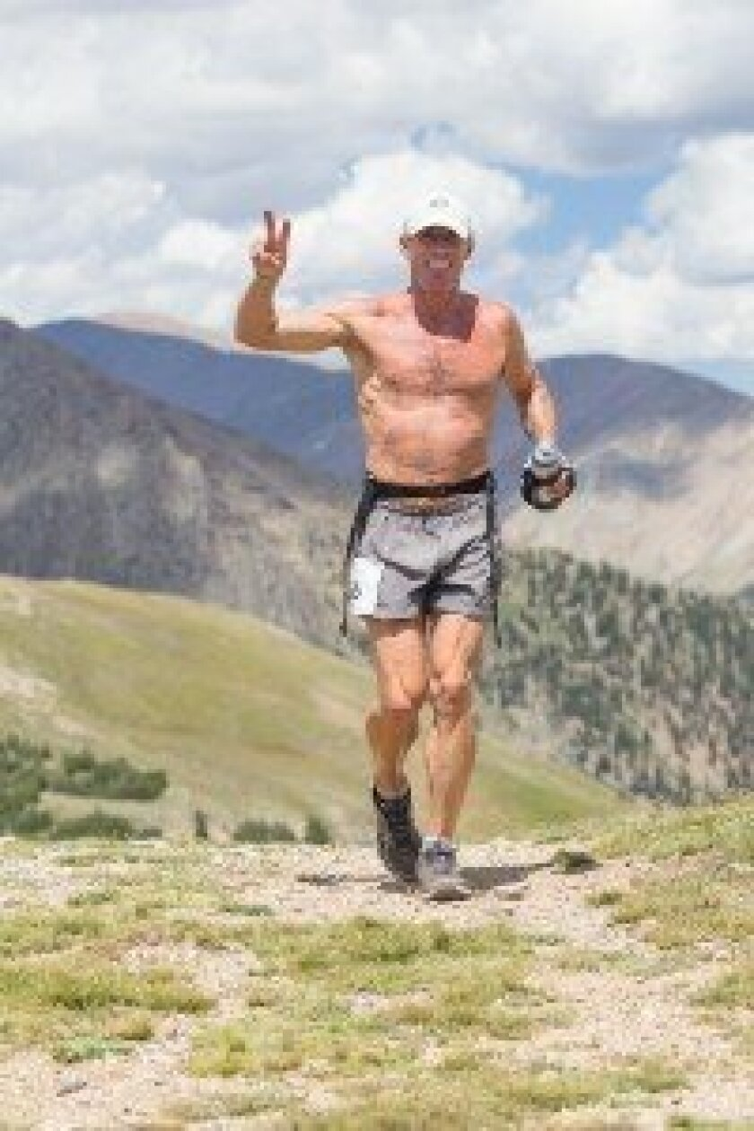 Del Mar's Mark Backes was still smiling at mile 45 of the Leadville Trail 100 in Colorado, cresting Hope Pass at 12,600 feet. Courtesy photo