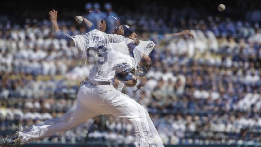 LOS ANGELES, CA, THURSDAY, MARCH 28, 2019 - A multiple exposure of Dodgers pitcher Hyun-Jin Ryu who