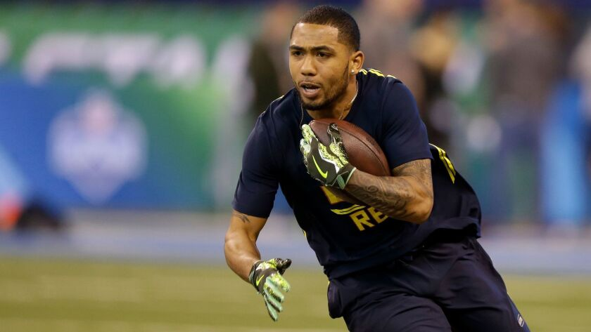 San Diego State running back Donnel Pumphrey runs a drill at the NFL scouting combine in Indianapolis in 2017.