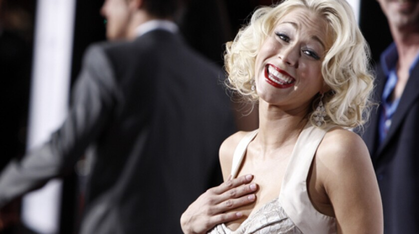 """A NEW LINE OF WORK: Katie Morgan arrives for the Hollywood premiere of """" Zack and Miri Make a Porno."""""""