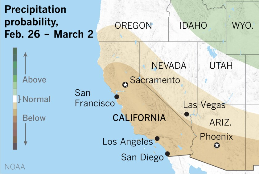 A map of the U.S. West shows probability for below-normal precipitation in much of California