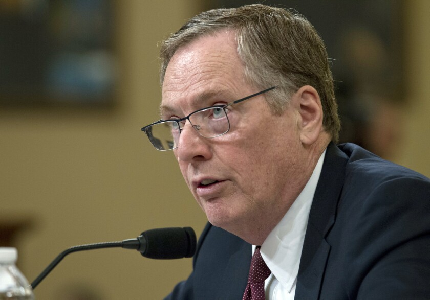 U.S. Trade Representative Amb. Robert Lighthizer testifies on trade policy before the House Ways and Means Committee on Capitol Hill, Wednesday, March 21, 2018, in Washington.