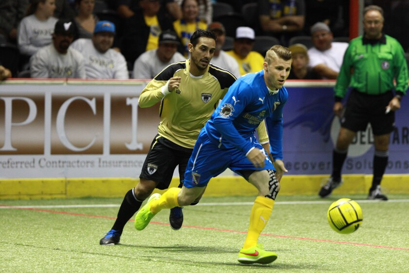 San Diego Sockers mid #7 Brian Farber looks for an opening against the Las Vegas Legends.